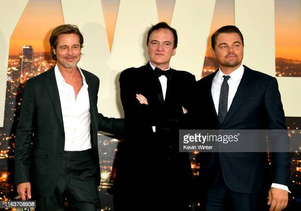 Brad Pitt Quentin Tarantino and Leonardo DiCaprio arrive at the premiere of Sony Pictures' One Upon A TimeIn Hollywood at the Chinese Theatre on July...