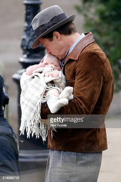 Brad Pitt seen filming scenes for 'Five Seconds Of Silence' in Hampstead on March 31 2016 in London England
