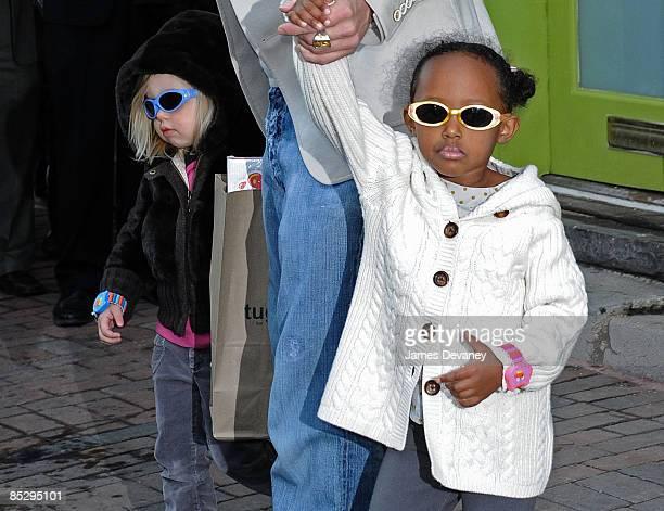 Brad Pitt Shiloh JoliePitt and Zahara JoliePitt seen at Tugooh toy store in Washington DC on March 6 2009