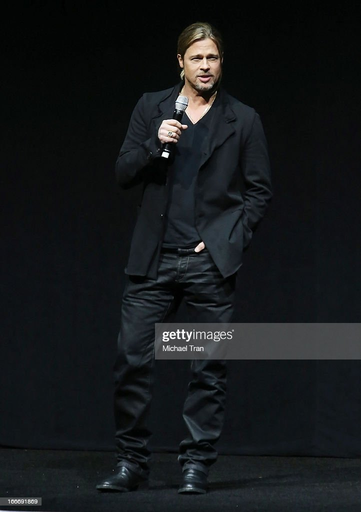 Brad Pitt speaks onstage at a Paramount Pictures presentation to promote his upcoming film 'World War Z' held at Caesars Palace during CinemaCon, the official convention of the National Association of Theatre Owners on April 15, 2013 in Las Vegas, Nevada.