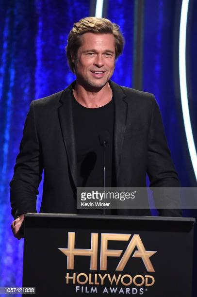 Brad Pitt speaks onstage during the 22nd Annual Hollywood Film Awards at The Beverly Hilton Hotel on November 4 2018 in Beverly Hills California
