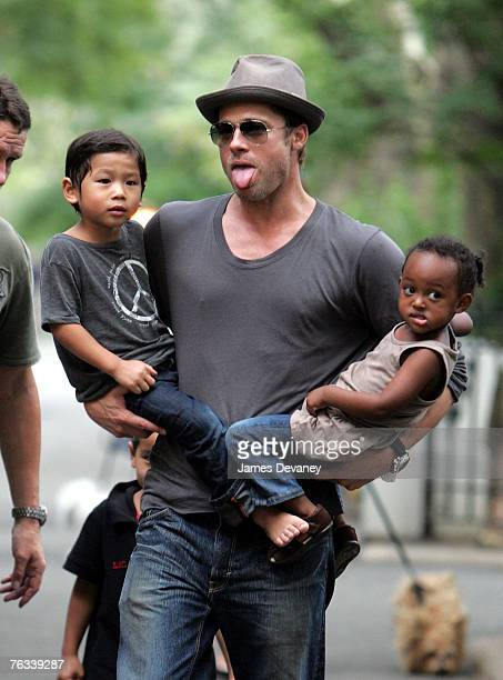 Brad Pitt visits playground with children Zahara Jolie-Pitt, Pax Jolie-Pitt and Maddox Jolie-Pitt in New York City on August 26, 2007.