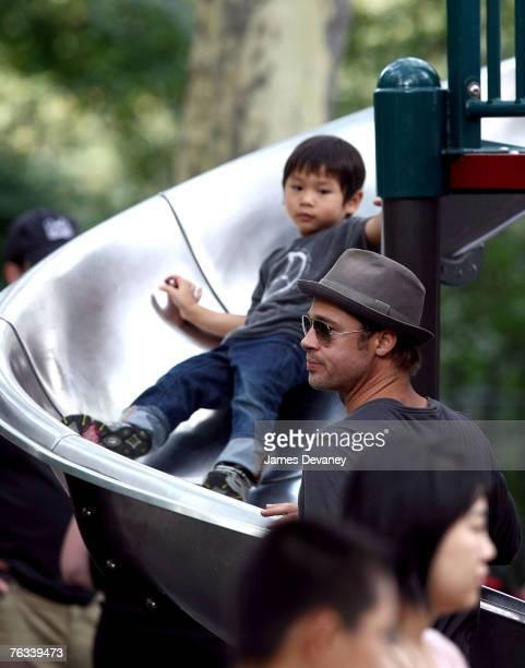 Brad Pitt visits playground with children Zahara JoliePitt Pax JoliePitt and Maddox JoliePitt in New York City on August 26 2007