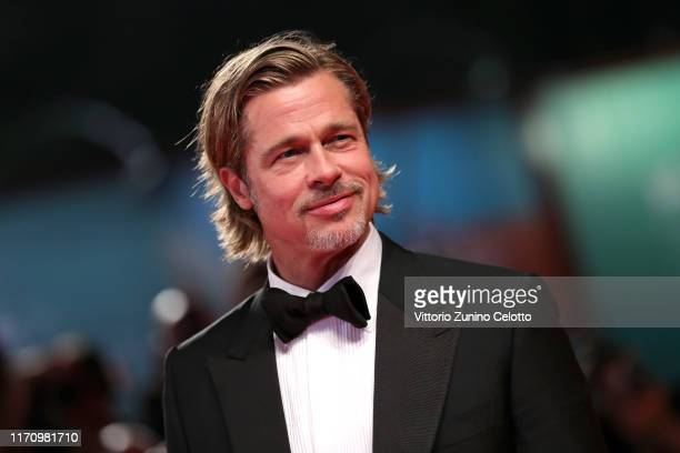 "Brad Pitt walks the red carpet ahead of the ""Ad Astra"" screening during the 76th Venice Film Festival at Sala Grande on August 29, 2019 in Venice,..."