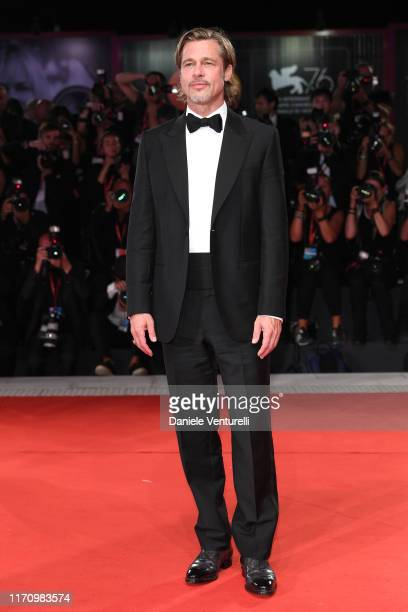 """Brad Pitt walks the red carpet ahead of the """"Ad Astra"""" screening during the 76th Venice Film Festival at Sala Grande on August 29, 2019 in Venice,..."""