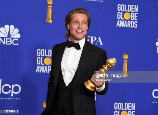 Brad Pitt winner of Best Performance by a Supporting Actor in a Motion Picture poses in the press room during the 77th Annual Golden Globe Awards at...