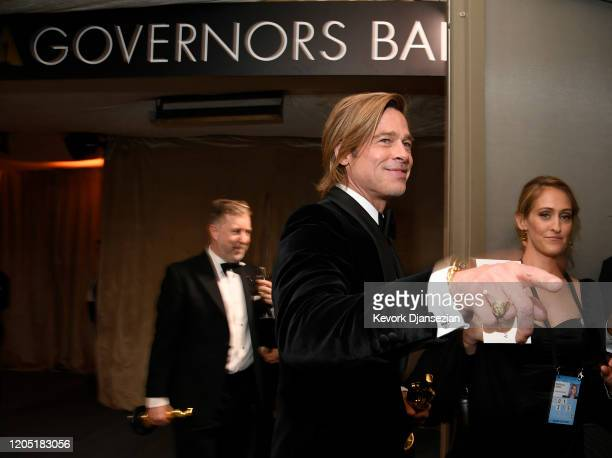 Brad Pitt winner of the Actor in a Supporting Role award for Once Upon a Time…in Hollywood attends the 92nd Annual Academy Awards Governors Ball at...