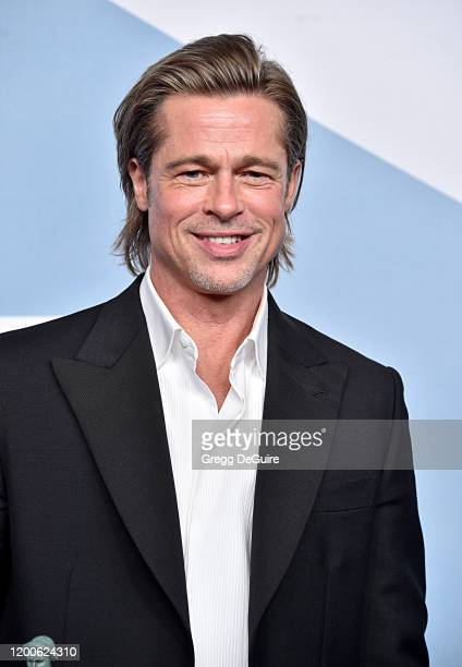 Brad Pitt winner Outstanding Performance by a Male Actor in a Supporting Role for 'Once Upon a Time in Hollywood' poses in the press room during the...