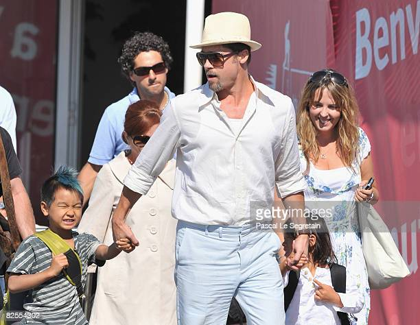 Brad Pitt with adopted son Maddox JoliePitt leaves Marco Polo Airport in Venice ahead of the 65th Venice Film Festival on August 26 2008 in Venice...
