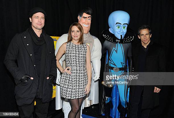 """Brad Pitt,Tina Fey and Ben Stiller attend the premiere of """"Megamind"""" at AMC Lincoln Square Theater on November 3, 2010 in New York City."""