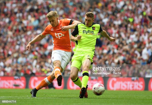 Brad Potts of Blackpool scores their first goal during the Sky Bet League Two Playoff Final between Blackpool and Exeter City at Wembley Stadium on...
