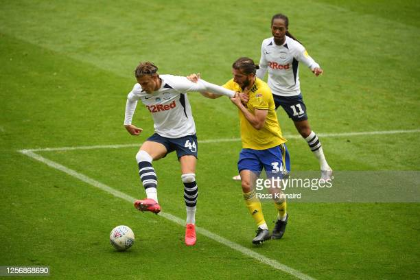 Brad Potts of Preston North End battles for possession with Ivan Sunjic of Birmingham City during the Sky Bet Championship match between Preston...