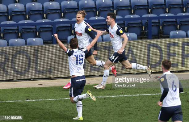 Brad Potts of Preston North End celebrates with Andrew Hughes and team mates after scoring their side's first goal during the Sky Bet Championship...
