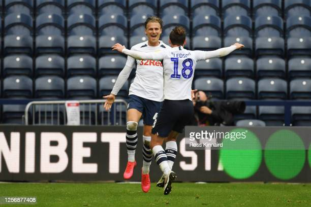 Brad Potts of Preston North End celebrates with Ryan Ledson of Preston North End after scoring his teams second goal during the Sky Bet Championship...