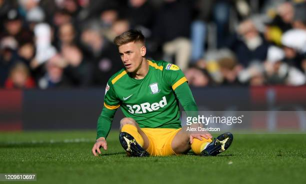 Brad Potts of Preston North End reacts during the Sky Bet Championship match between Fulham and Preston North End at Craven Cottage on February 29,...