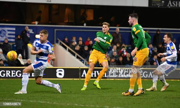 Brad Potts of Preston North End scores the 4th Preston goal during the Sky Bet Championship match between Queens Park Rangers and Preston North End...