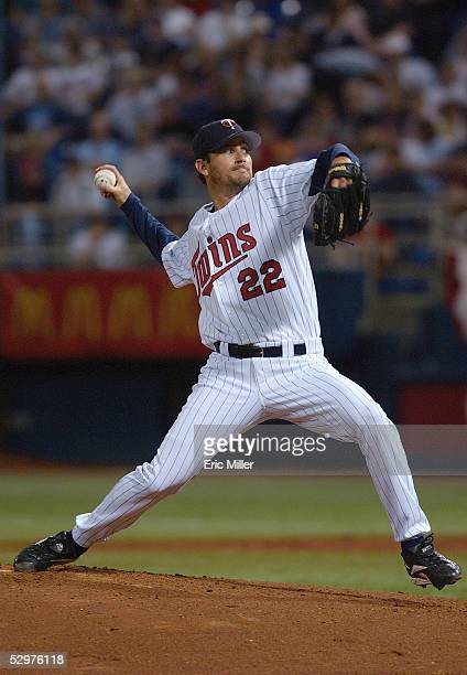 Brad Radke of the Minnesota Twins windsback to pitch during the game against the Chicago White Sox at the Metrodome on April 9, 2005 in Minneapolis,...