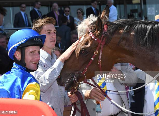 Brad Rawiller after riding Black Heart Bart to win Race 5 Futurity Stakes during Melbourne Racing at Caulfield Racecourse on February 25 2017 in...
