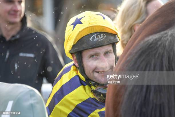 Brad Rawiller after winning the Sargeants Conveyancing Geelong BM58 Handicap at Geelong Synthetic Racecourse on July 20 2018 in Geelong Australia