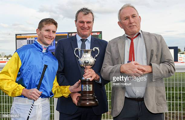 Brad Rawiller Darren Weir and Kim Renner after h2/ wins New Zealand Bloodstock Memsie Stakes at Caulfield Racecourse on August 27 2016 in Caulfield...
