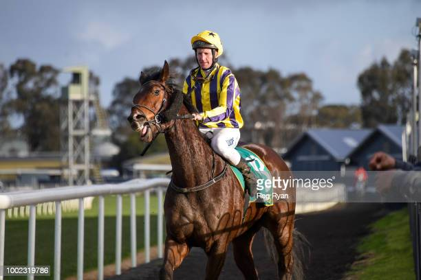 Brad Rawiller returns to the mounting yard on Snows Bro after winning the Sargeants Conveyancing Geelong BM58 Handicap at Geelong Synthetic...