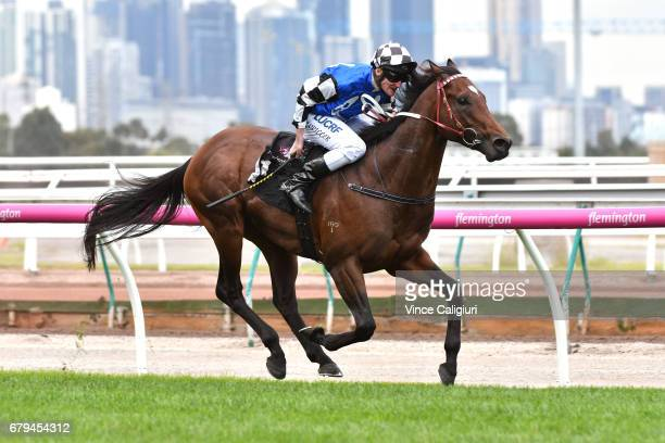 Brad Rawiller riding Articus wins Race 1 during Melbourne Racing at Flemington Racecourse on May 6 2017 in Melbourne Australia