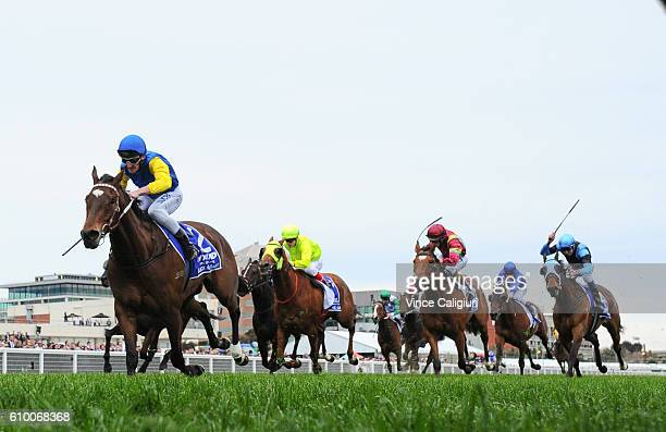 Brad Rawiller riding Black Heart Bart wins Race 8 Underwood Stakes during Melbourne Racing at Caulfield Racecourse on September 24 2016 in Melbourne...