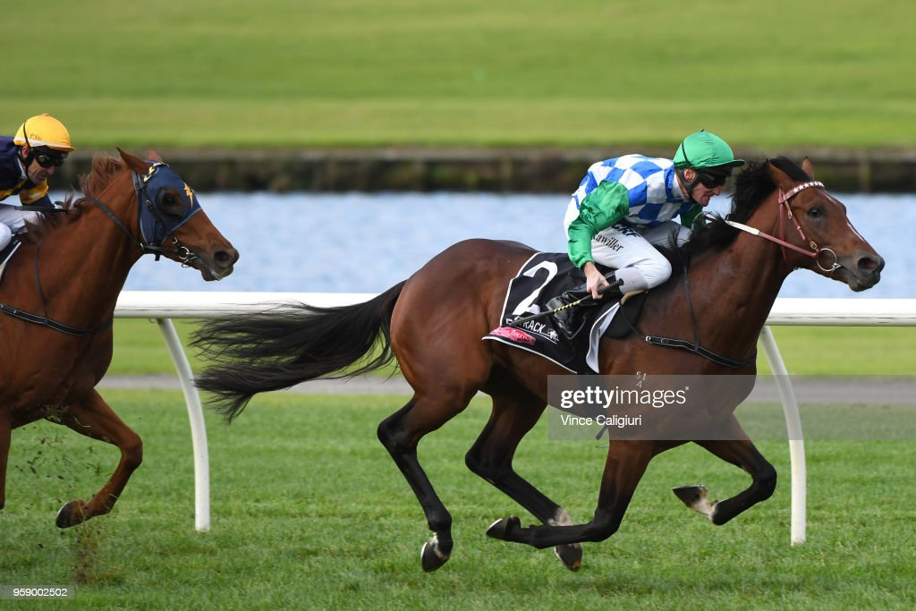 Brad Rawiller riding Fifty Stars wins Race 5, during Melbourne Racing at Sandown Hillside on May 16, 2018 in Melbourne, Australia.