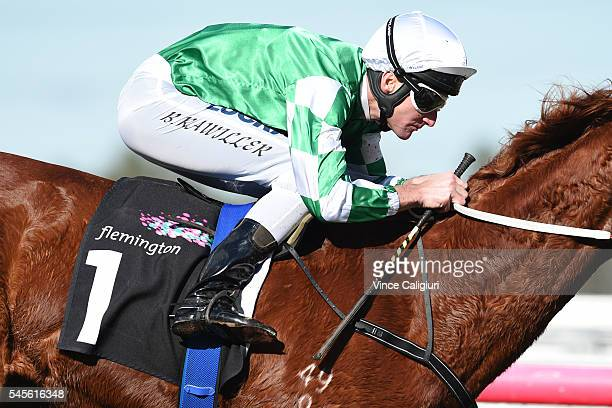 Brad Rawiller riding Killarney Kid wins Race 3 during Melbourne Racing at Flemington Racecourse on July 9 2016 in Melbourne Australia