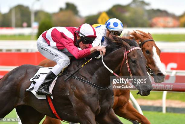 Brad Rawiller riding Star Exhibit wins Race 8 Thoroughbred Club Stakes during Melbourne Racing at Caulfield Racecourse on April 29 2017 in Melbourne...