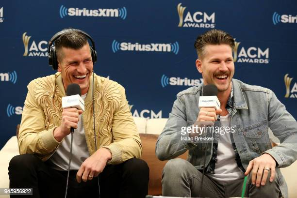 Brad Rempel and Curtis Rempel of the band High Valley attend SiriusXM's The Highway channel broadcast backstage from the Academy of Country Music...