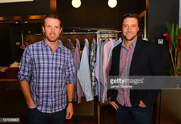 Brad Richards and UNTUCKit founder Chris Riccobono attend press conference announcing their partnership with the UNTUCKit clothing line at New York...