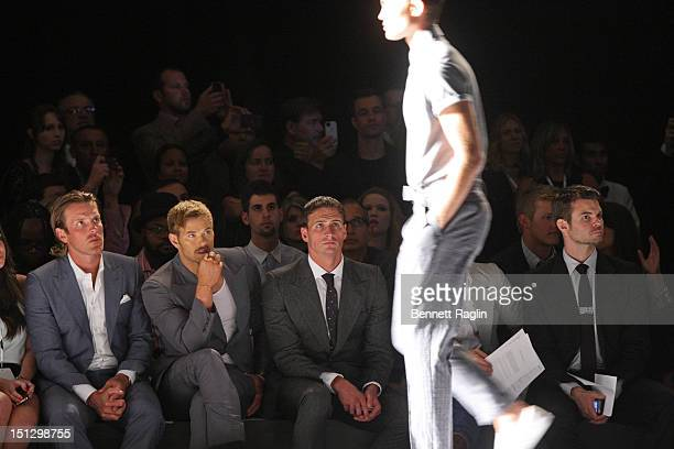 Brad Richards, Kellan Lutz, and Ryan Lochte attend Joseph Abboud during Spring 2013 Mercedes-Benz Fashion Week at the New York Public Library on...