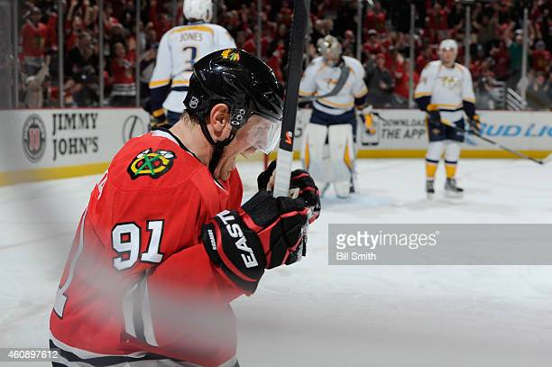 Brad Richards of the Chicago Blackhawks reacts after scoring against the Nashville Predators in the second period during the NHL game at the United...