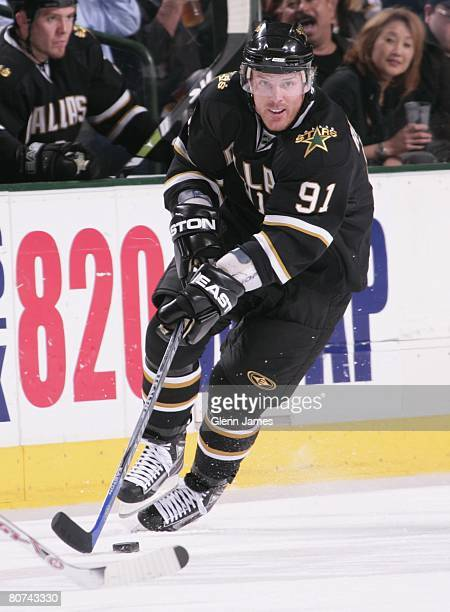 Brad Richards of the Dallas Stars handles the puck against the Anaheim Ducks during game four of the Western Conference Quarterfinals of the 2008 NHL...
