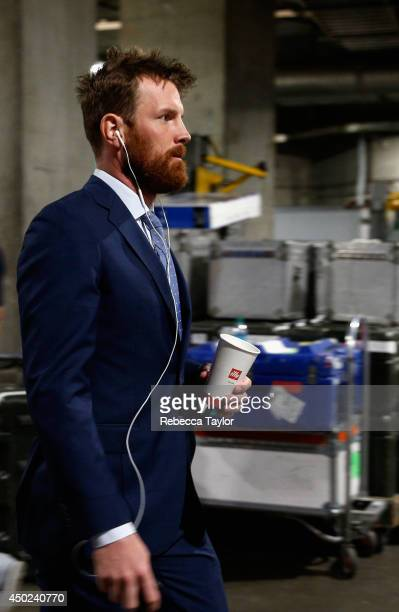 Brad Richards of the New York Rangers arrives at the arena before Game Two of the 2014 Stanley Cup Final against the Los Angeles Kings at Staples...