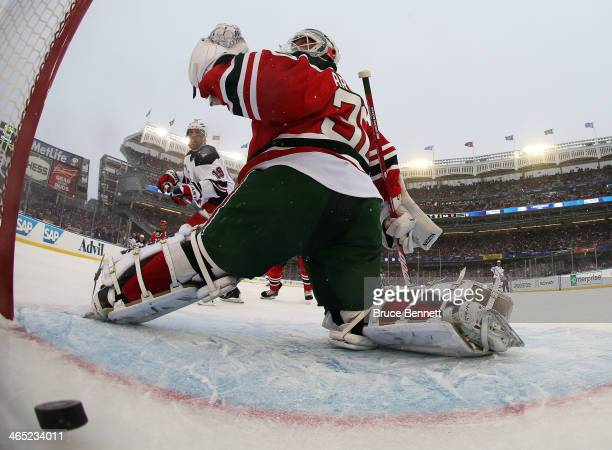Brad Richards of the New York Rangers celebrates a second period goal by against Martin Brodeur of the New Jersey Devils during the 2014 Coors Light...