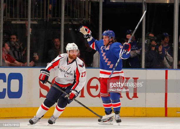 Brad Richards of the New York Rangers celebrates after he scored a first period goal against the Washington Capitals in Game Seven of the Eastern...