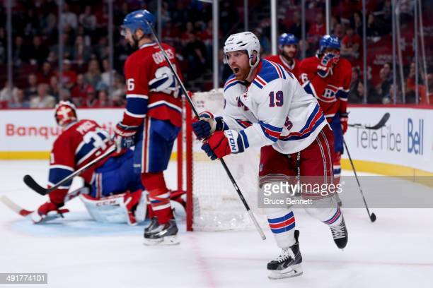 Brad Richards of the New York Rangers celebrates after scoring a second period goal against the Montreal Canadiens in Game One of the Eastern...