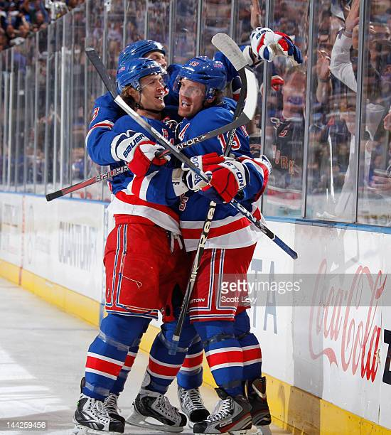 Brad Richards of the New York Rangers celebrates his goal in the first period against the Washington Capitals in Game Seven of the Eastern Conference...