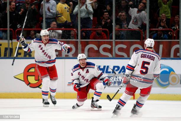 Brad Richards of the New York Rangers celebrates his tying goal late in the third period against the Anaheim Ducks at the Globe Arena during the 2011...