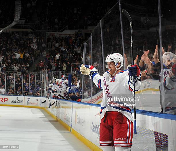 Brad Richards of the New York Rangers celebrates scoring what would be the game winning goal during the third period against the New York Islanders...