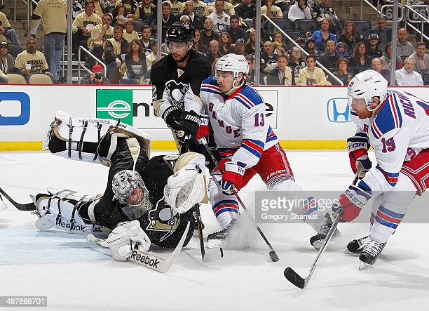 Brad Richards of the New York Rangers scores past Marc-Andre Fleury of the Pittsburgh Penguins in Game One of the Second Round of the 2014 Stanley...