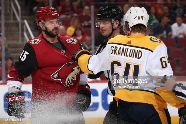 Brad Richardson of the Arizona Coyotes and Mikael Granlund of the Nashville Predators have words during the second period of the NHL game at Gila...