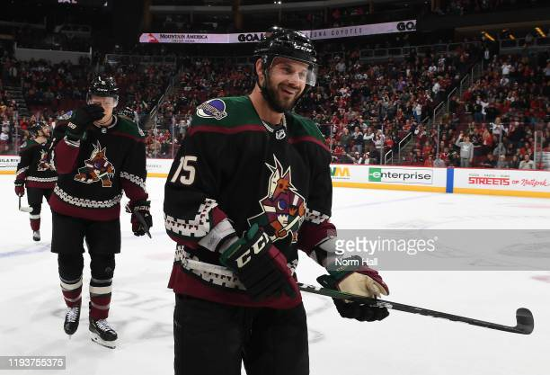 Brad Richardson of the Arizona Coyotes celebrates a goal against the Chicago Blackhawks at Gila River Arena on December 12, 2019 in Glendale, Arizona.