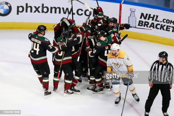 Brad Richardson of the Arizona Coyotes celebrates his overtime game winning goal at 5:27 against the Nashville Predators in Game Four of the Western...
