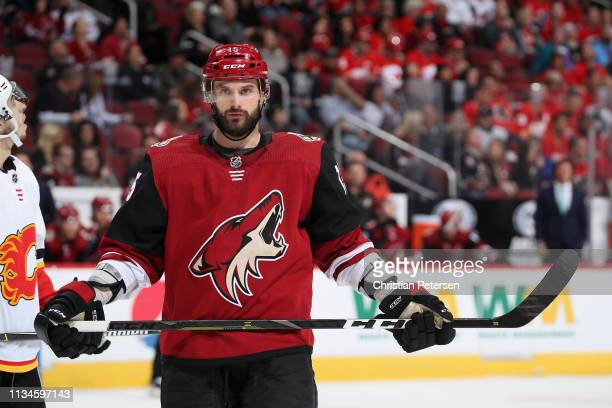 Brad Richardson of the Arizona Coyotes during the third period of the NHL game against the Calgary Flames at Gila River Arena on March 07, 2019 in...