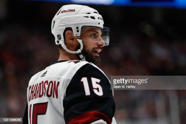 Brad Richardson of the Arizona Coyotes looks on during the first period of a game against the Anaheim Ducks at Honda Center on October 10, 2018 in...