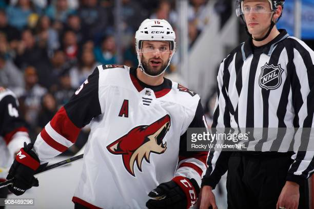 Brad Richardson of the Arizona Coyotes looks on during the game against the San Jose Sharks at SAP Center on January 13 2018 in San Jose California