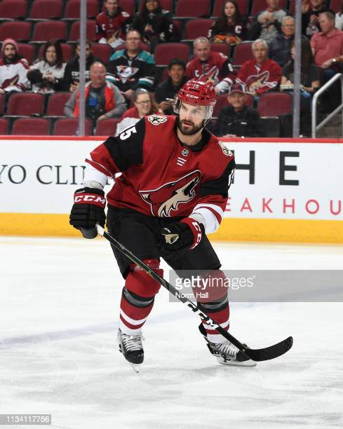 Brad Richardson of the Arizona Coyotes skates up ice against the Anaheim Ducks at Gila River Arena on March 5, 2019 in Glendale, Arizona.